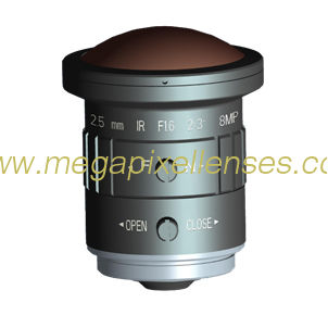 "2/3"" 2.5mm F1.6 8Megapixel CS mount 190degree Fisheye Lens for 2/3"" 1/2"" 1/2.7"" sensors"