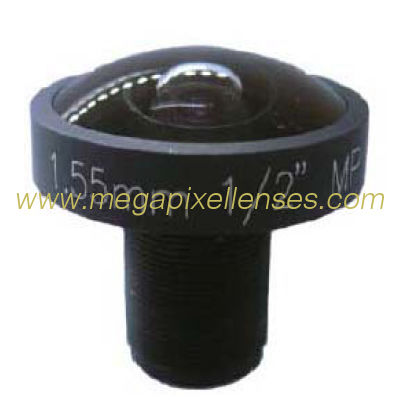 "1/2"" 1.55mm 5Megapixel M12X0.5 mount 185degrees super wide angle Fisheye Lens"