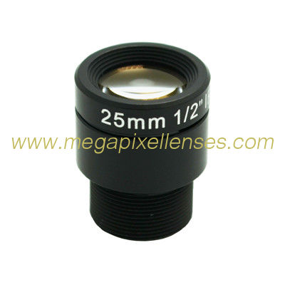 "1/2"" 25mm 4Megapixel F2.4 S Mount M12x0.5 mount Non-Distortion IR Board Lens, 25mm lens"