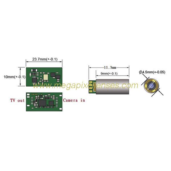 AV endoscope camera module 4.5mm diameter VGA mini ... on
