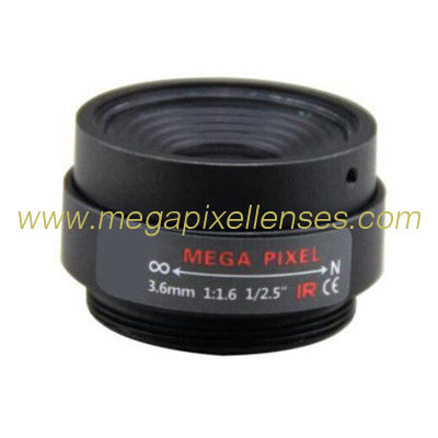 "1/2.5"" 3.6mm F1.6 3Megapixel CS-mount Fixed Focal IR Lens Megapixel Prime Lens"