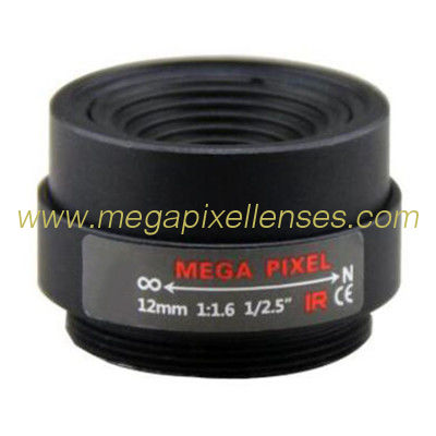 "1/2.5"" 12mm F1.6 3Megapixel CS-mount Fixed Focal IR Lens Megapixel Prime Lens"