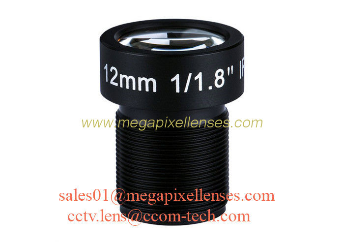 "1/1.8"" 12mm 5Megapixel F1.8 S/CS Mount M12x0.5 Non-Distortion IR Board Lens for 5MP-10MP HD sensors"