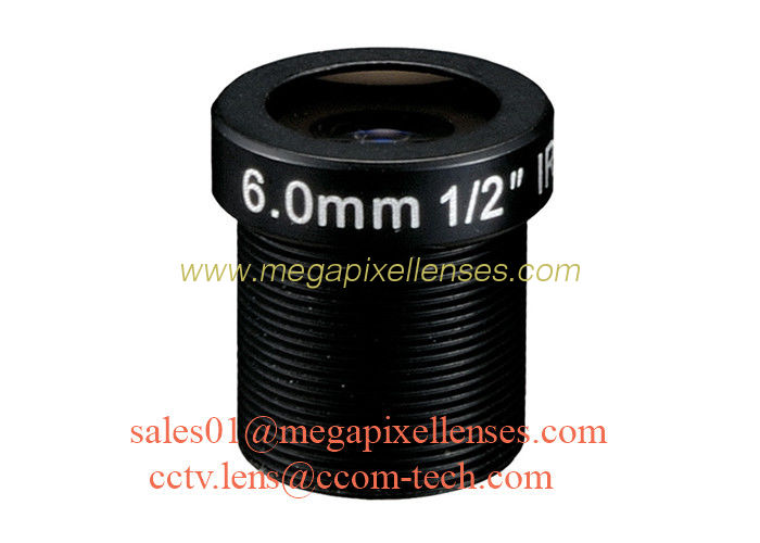 "1/2"" 6mm F1.6 2Megapixel M12x0.5 mount IR board lens, 6mm MTV lens for security camera"