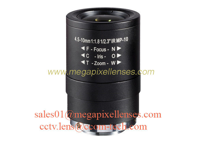 "1/2.3"" 4.5-10mm F1.8 10MP 4K CS mount Manual/DC Auto IRIS IR Vari-focal Lens for IMX172, Ribcage lens"