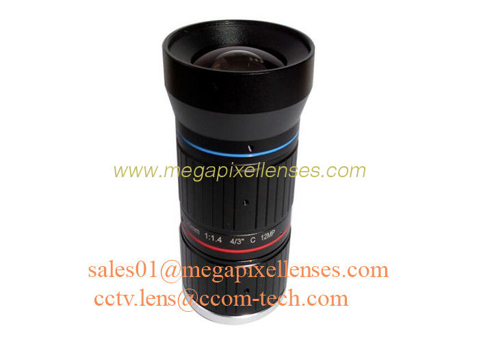 "4/3"" 20mm F1.4 12Megapixel C Mount Manual IRIS Low Distortion ITS Lens, 20mm Traffic Monitoring Lens"