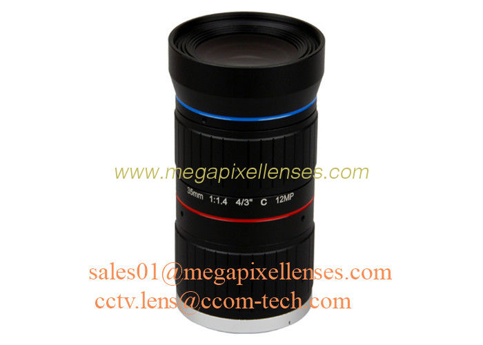 "4/3"" 35mm F1.4 12Megapixel C Mount Manual IRIS Low Distortion ITS Lens, 35mm Traffic Monitoring Lens"