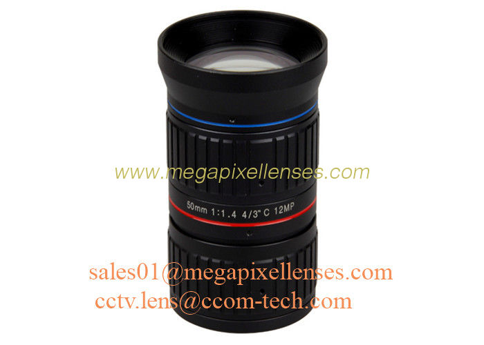 "4/3"" 50mm F1.4 12Megapixel C Mount Manual IRIS Low Distortion ITS Lens, 50mm Traffic Monitoring Lens"