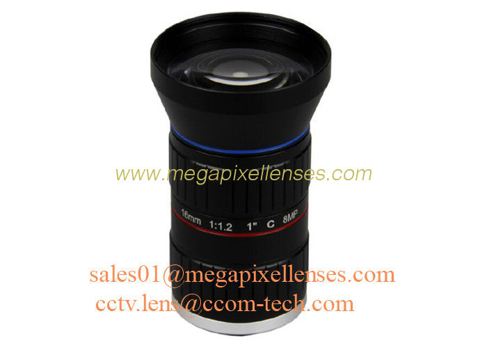 "1"" 16mm F1.2 8Megapixel C Mount Manual IRIS Low Distortion ITS Lens, 16mm Traffic Monitoring Lens"