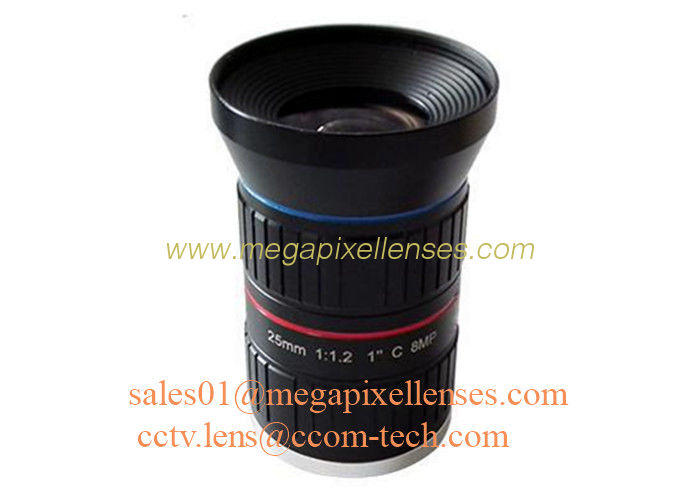 "1"" 25mm F1.2 8Megapixel C Mount Manual IRIS Low Distortion ITS Lens, 25mm Traffic Monitoring Lens"