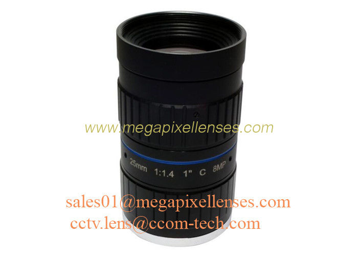 "1"" 25mm F1.4 8Megapixel C Mount Manual IRIS Low Distortion ITS Lens, 25mm Traffic Monitoring Lens"