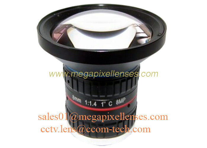"1"" 8mm F1.4 8Megapixel C Mount Manual IRIS Low Distortion ITS Lens, 8mm Traffic Monitoring Lens"
