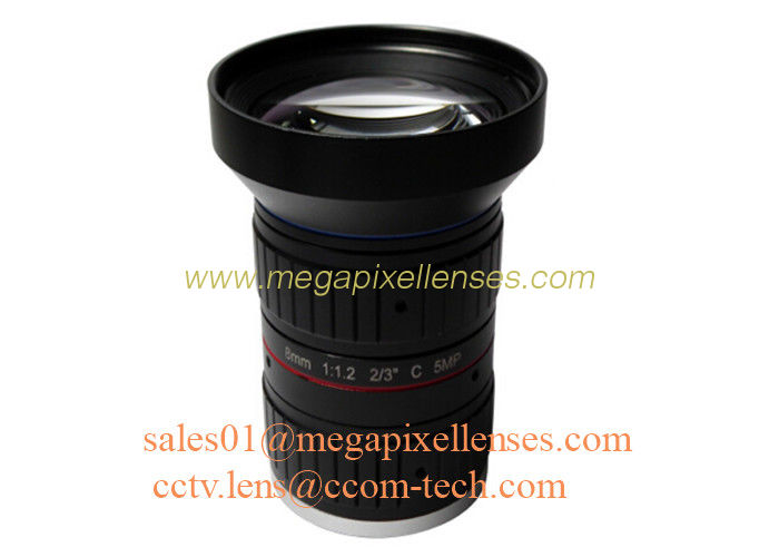 "2/3"" 8mm F1.2 5Megapixel Manual IRIS Low Distortion C Mount ITS Lens, 8mm Traffic Monitoring Lens"