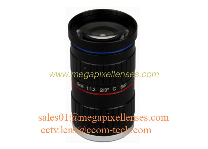 "2/3"" 12mm F1.2 5Megapixel Manual IRIS Low Distortion C Mount ITS Lens, 12mm Traffic Monitoring Lens"