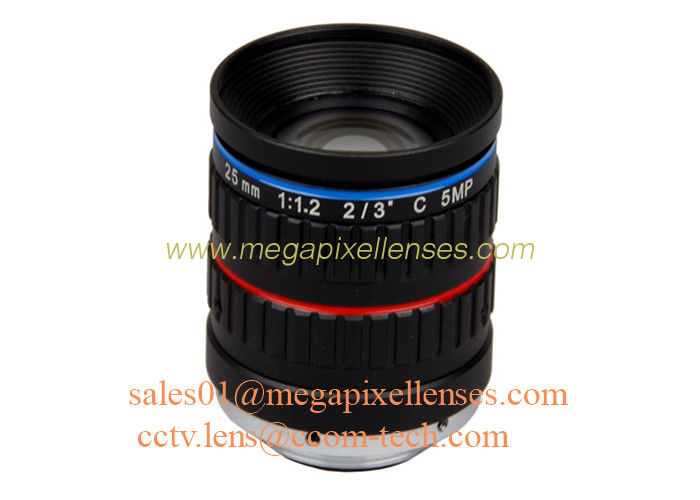 "2/3"" 25mm F1.2 5Megapixel Manual IRIS Low Distortion C Mount ITS Lens, 25mm Traffic Monitoring Lens"