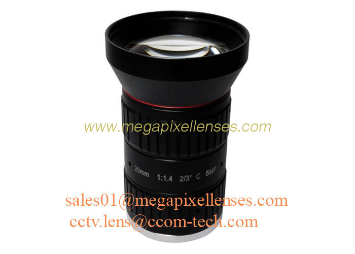 "2/3"" 20mm F1.4 5Megapixel Manual IRIS Low Distortion C Mount ITS Lens, 20mm Traffic Monitoring Lens"