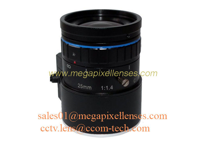"1"" 25mm F1.4 8Megapixel DC Auto IRIS Low Distortion C Mount ITS Lens, Compact 25mm Traffic Monitoring Lens"