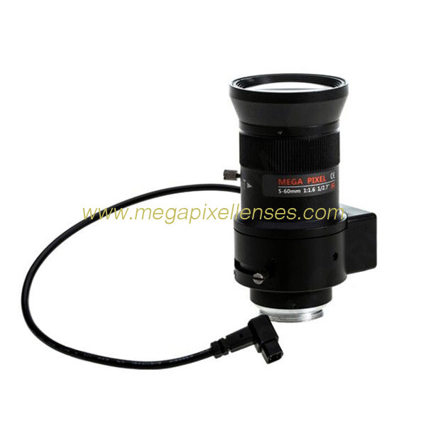 "1/2.7"" 5-60mm F1.6 Megapixel DC Auto IRIS Manual Zoom CS-mount Vari-focal Lens, 12X Zoom Lens"
