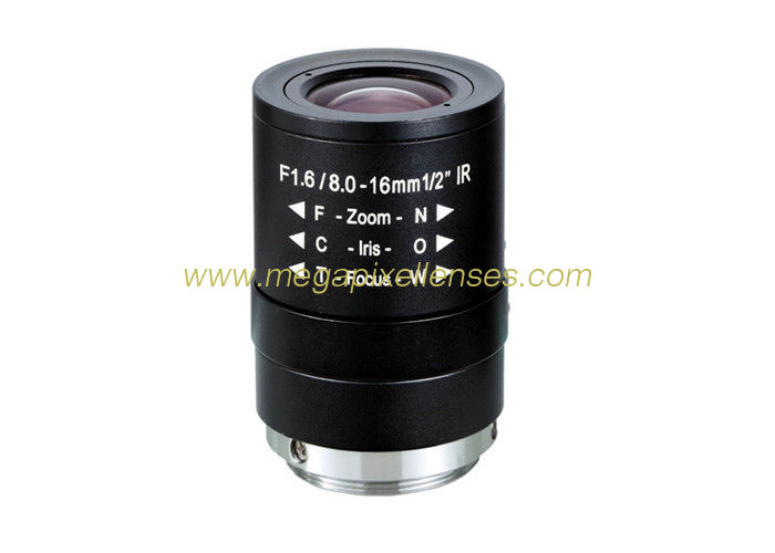 "1/2"" 8-16mm F1.6 5Megapixel Manual IRIS/DC Auto IRIS Manual Zoom/Focus CS-mount varifocal lens"