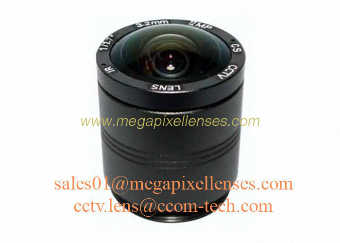 "1/1.7"" 1/1.8"" 3.2mm F2.0 12Megapixel CS mount 160degree wide angle lens, 4K CS lens for CCTV IP cameras"