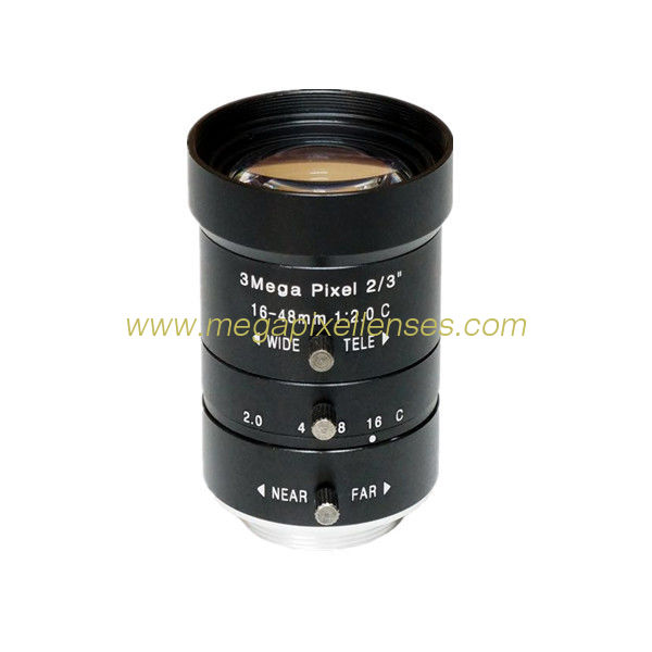 "2/3"" 16-48mm F2.0 3Megapixel C-mount Manual IRIS Manual Zoom Vari-focal Lens Industrial Lens"
