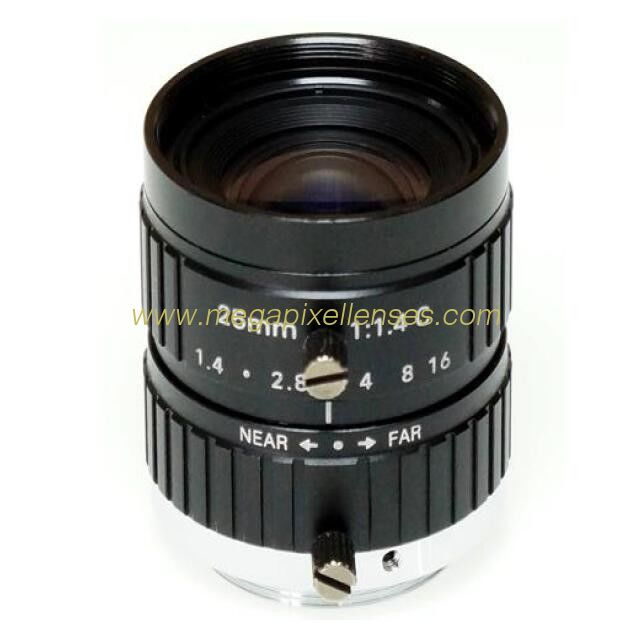 "2/3"" 25mm F1.4 10Megapixel Manual IRIS C Mount Industrial FA Lens, 25mm 10MP Non Distortion Industrial Lens"