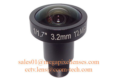 "1/1.7"" 1/1.8"" 3.2mm F2.0 12Megapixel M12x0.5 mount 160degree wide angle lens, 4K cctv lens"