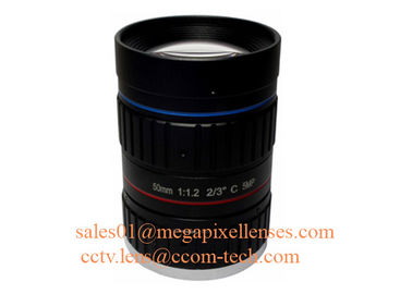 "China 2/3"" 50mm F1.2 5Megapixel Manual IRIS Low Distortion C Mount ITS Lens, 50mm Traffic Monitoring Lens factory"