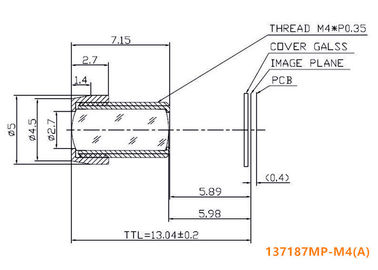 "1/3.7"" 1/4"" 18.7mm F7.0 M4x0.35 mount Non Distortion Lens, long focal M4 mount telescope lens/medical lens"